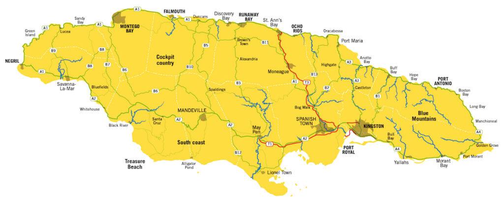 Wandertouren in Jamaika Karte